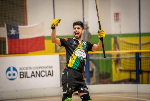 Juan Moyano, marcatore del terzo gol vercellese, in una foto di Chiara Jett Tugnolo.
