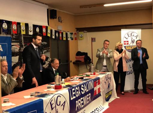 Da sinistra, Locarni, Tiramani, Corsaro e i tre candidati in Regione Stecco, Rosetta e Dago