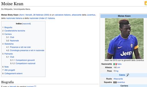 Pagina Wikipedia di Moise Kean