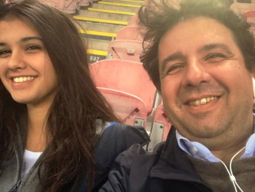 Alvise Racioppi con la figlia Anna