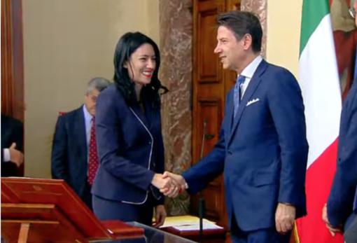 Lucia Azzolina con il premier Giuseppe Conte