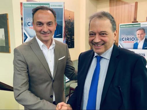 Il presidente Alberto Cirio e il sindaco Andrea Corsaro durante la campagna elettorale del 2019