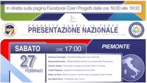 """Csen Piemonte, online la presentazione del progetto regionale """"Cambia il tempo"""""""