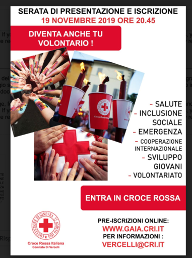 Croce Rossa, parte il corso per aspiranti volontari