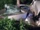 La carcassa dell'auto distrutta
