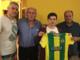 Da sinistra, mister Silva, Torazzo, Milani e il presidente Tarsia