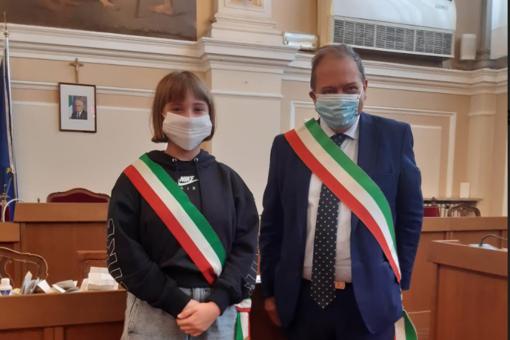 Anita Portafoglio insieme al sindaco Andrea Corsaro