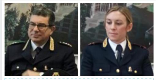 I dirigenti Athos Vecchi e Silvia Peirolo lasciano la Questura di Vercelli